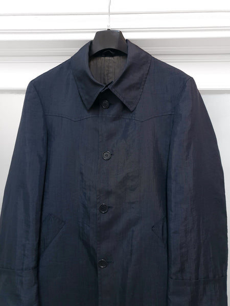 1990s Oversize Western Car Coat in Washed Navy Nylon