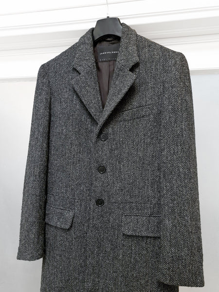 1998 Chesterfield Coat with Cheetah Back Print in Herringbone Wool Tweed