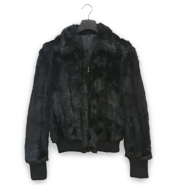 1990s Sartorial Sport Blouson in Faux Fur & Wool Twill