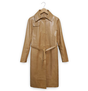 1997 Deconstructed Belted Car Coat in Polished Lamb Leather