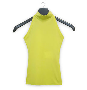1996 Cutaway-Shoulder Funnel Neck Tank Top in Nylon Crêpe Jersey