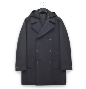 2005 Oversize Naval Coat in Sculptural Melton Wool with Detachable Nylon Hood