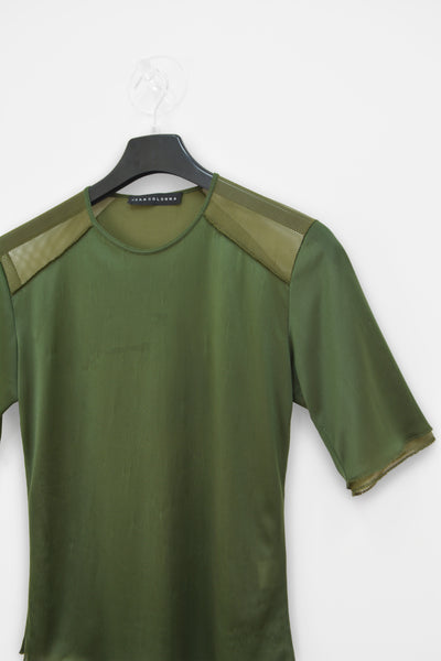 1990s Layered T-Shirt with Shoulder Panels in Extrafine Nylon and Mesh