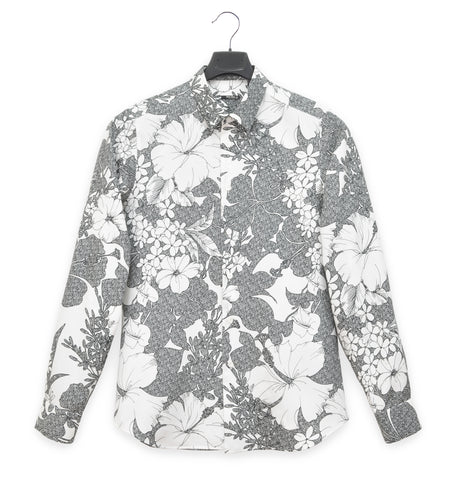 2003 Fitted Shirt in Floral-Print Polyester