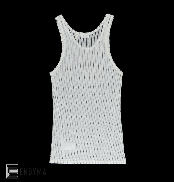 2000 Transparent Stripe Linen Jersey Tank Top with HL Logo