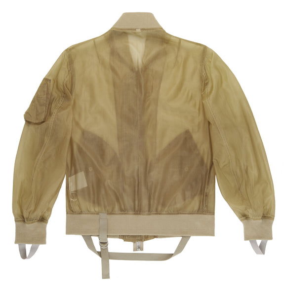 2004 Transparent Silk Organza Bondage Bomber Jacket with Straps
