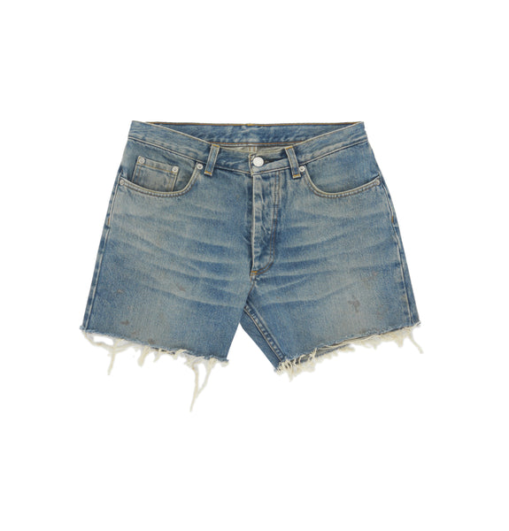 2000 Vintage Sanded Denim Grey Painter Cut-Off Shorts (Light Wash, Size 29)
