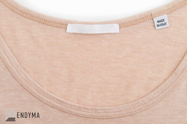 2004 Pale Peach Melange Jersey Tank Top with Logo Print