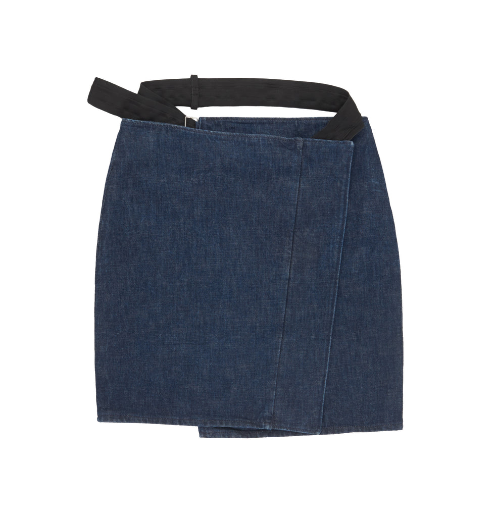 2003 Raw Denim Asymmetric Skirt with Bondage Strap