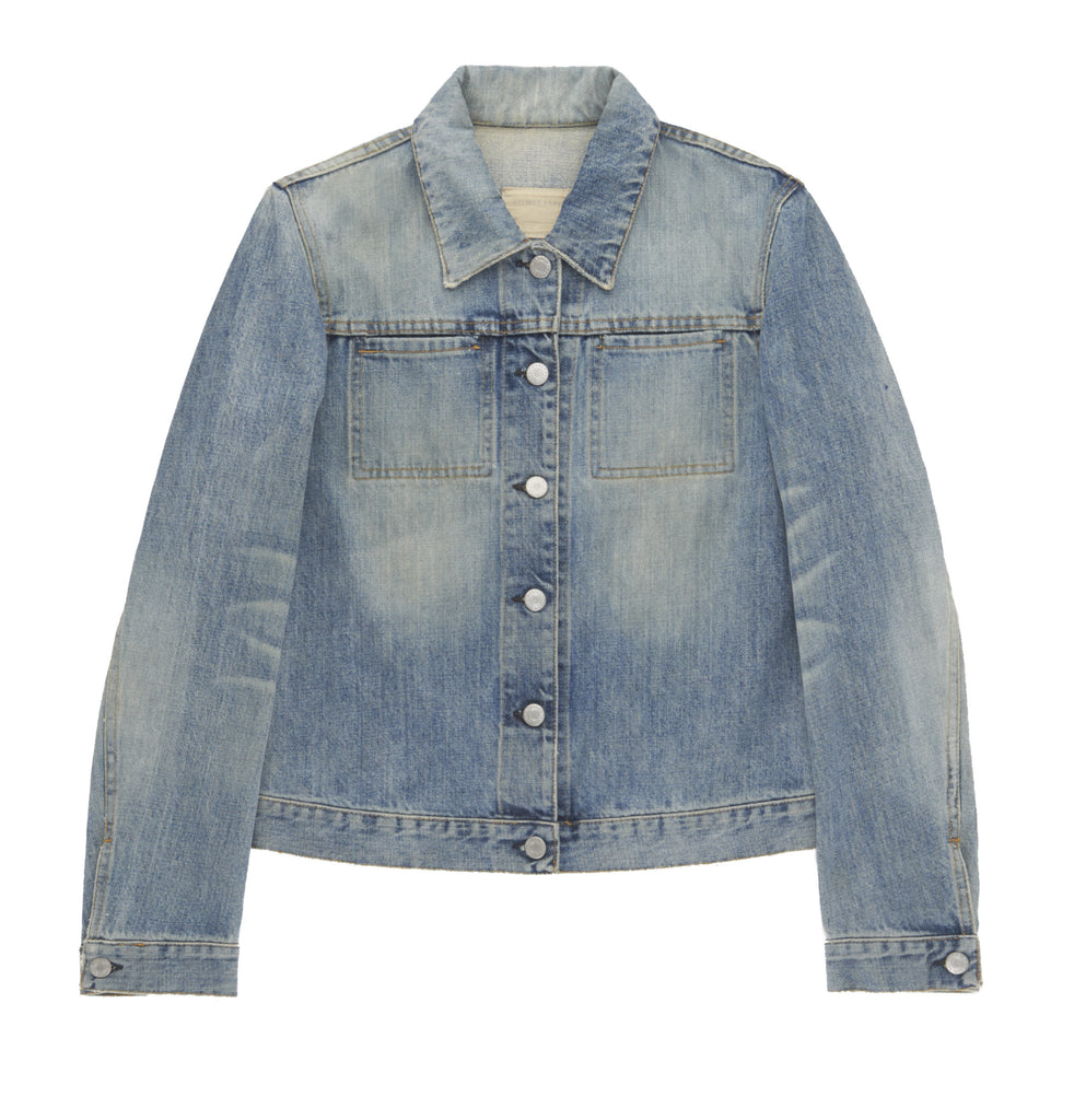 2002 Vintage Sanded Broken Denim 2 Slash Pocket Jacket