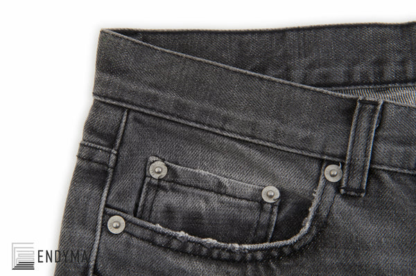 2004 Faded Black Denim Low Waist Boot Cut 7 Pocket Jeans