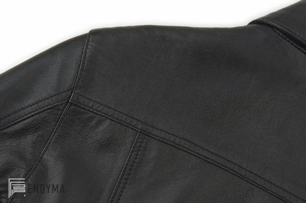 1997 Calf Leather Simple 2 Pocket Jacket with Waist Panel