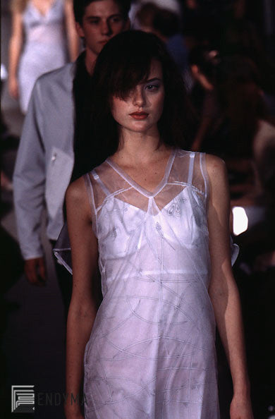 1997 Mesh Strap Top with Asymmetric Lace Application