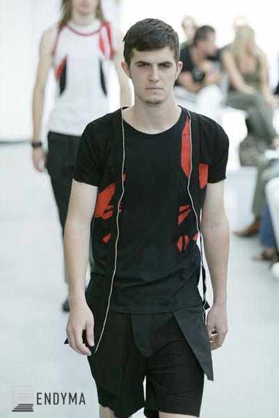2003 Deconstructed Abstract Patchwork T-Shirt with Leg Straps