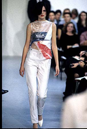 1995 Transparent Plastic Sleeveless Top with Abstract Print