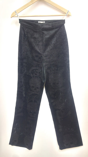 1993 Stretch Velvet Trousers with Skull and Bones Print