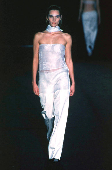 1999 Tie-Neck Tube Top with Straps and Hand-Beaded Detail in Silk Chiffon