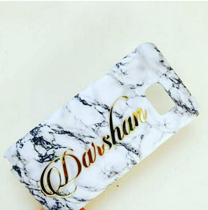 White Marble 4D Acrylic Name Case Cover