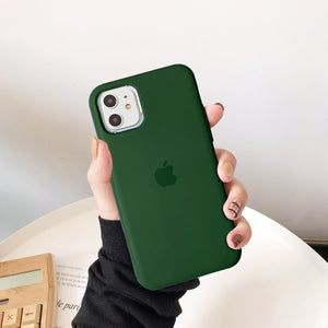 apple iphone liquid silicone case cover forest green
