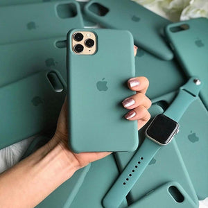 apple iphone liquid silicone case cover pine green