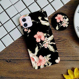 flower print black case cover with holder