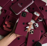 maroon apple iphone silicon case cover