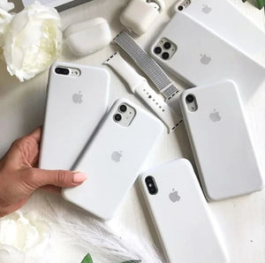 apple iphone liquid silicone mobile case cover white