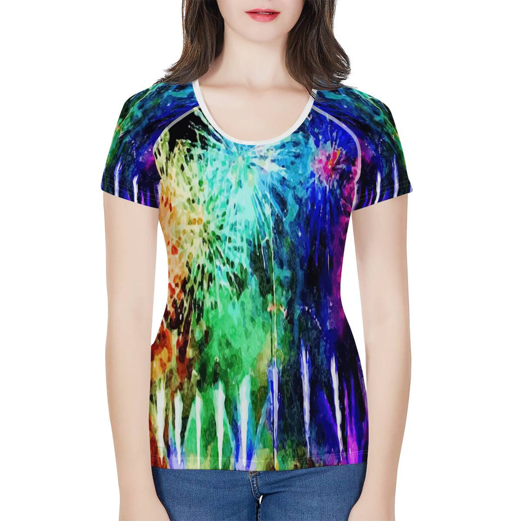 Fireworks Tshirt Women's All-Over Print T shirt