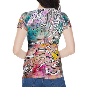 """Tropical Afternoon"" Women's All-Over Print T shirt"