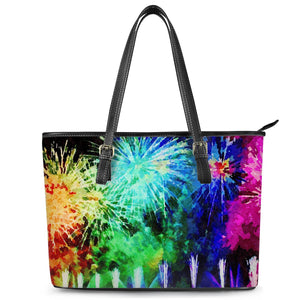 Fireworks Tote Leather Tote Bags