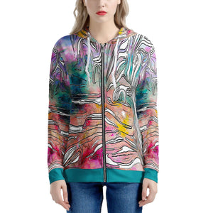 """Tropical Afternoon"" Hoodie Women's All Over Print Zip Hoodie"