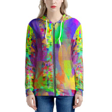 "Load image into Gallery viewer, ""Frequency"" Hoodie Women's All Over Print Zip Hoodie"