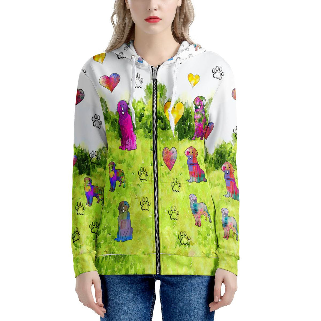 Golden Retriever Hoodie, green Women's All Over Print Zip Hoodie