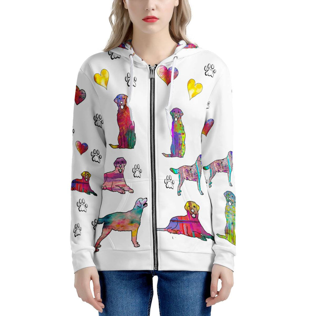 Labrador Retriever Hoodie, white Women's All Over Print Zip Hoodie
