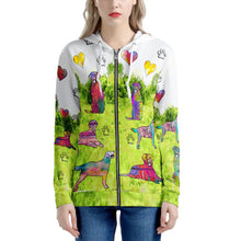 Load image into Gallery viewer, Labrador Retriever Hoodie, green Women's All Over Print Zip Hoodie