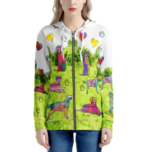 Labrador Retriever Hoodie, green Women's All Over Print Zip Hoodie