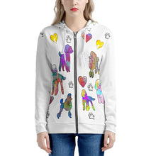 Load image into Gallery viewer, Poodle Hoodie, white Women's All Over Print Zip Hoodie