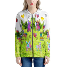 Load image into Gallery viewer, French Bulldog Hoodie, Green Women's All Over Print Zip Hoodie