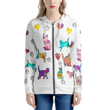 Load image into Gallery viewer, Cats Women's All Over Print Zip Hoodie