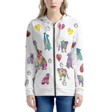 Load image into Gallery viewer, Bulldogs Women's All Over Print Zip Hoodie