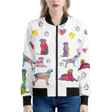 Load image into Gallery viewer, Labrador Retriever Jacket, white Women's Bomber Jacket