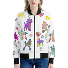 Load image into Gallery viewer, Poodle Jacket, white Women's Bomber Jacket