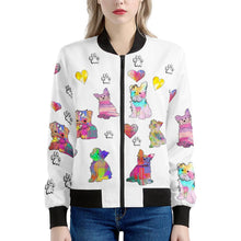 Load image into Gallery viewer, Yorkshire Terrier Jacket, White Women's Bomber Jacket