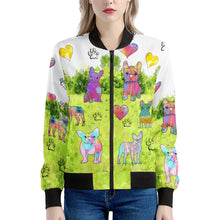 Load image into Gallery viewer, French Bulldog Jacket, Green Women's Bomber Jacket