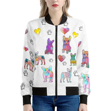 Load image into Gallery viewer, French Bulldog Jacket, white Women's Bomber Jacket