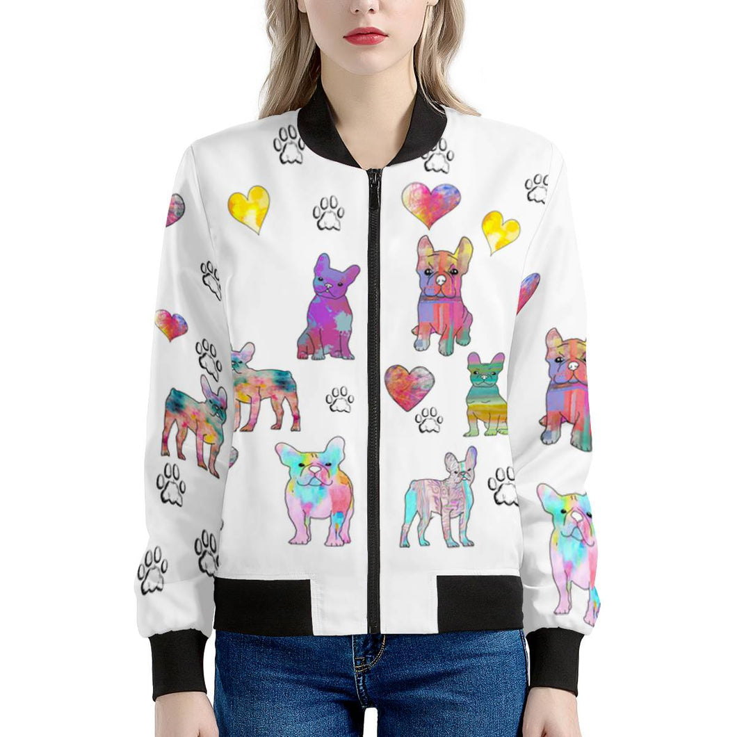 French Bulldog Jacket, white Women's Bomber Jacket