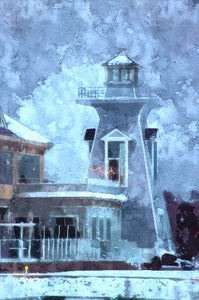 """Lighthouse in Winter"" - digital art on canvas"
