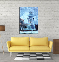 "Load image into Gallery viewer, ""Lighthouse in Winter"" - digital art on canvas"
