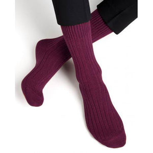 Bleuforet Men's Cashmere Ribbed Socks in Burgundy