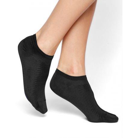 Bleuforet Mercerized Cotton Ankle Socks in Black